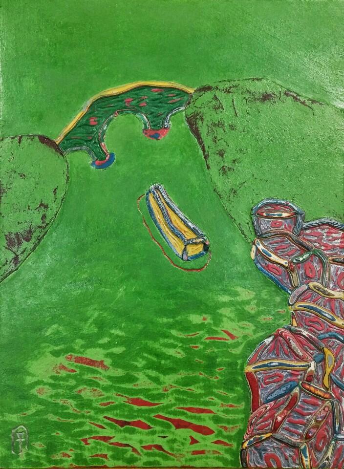 김재신004, 통영풍경,24.5x33.5cm, 혼합재료, 2017 (4)