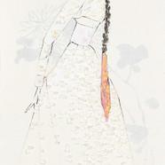 3. 베갯송사, 72.5x34.5cm, 한지위에 채색 & 콜라주, 201