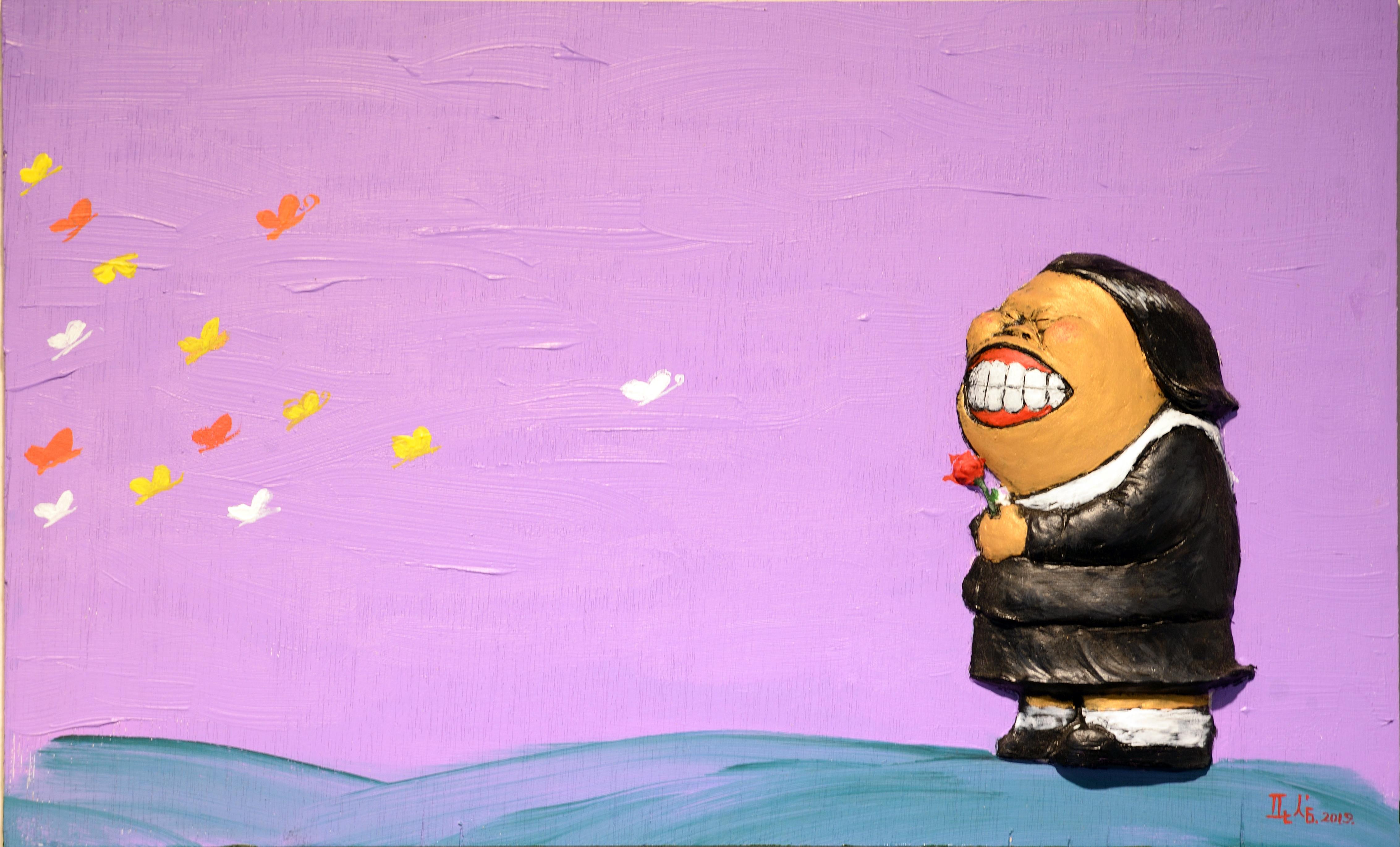 김판삼, 내가 꽃이다, 47 x 30 cm, 합판에 부조 후 아크릴 채색
