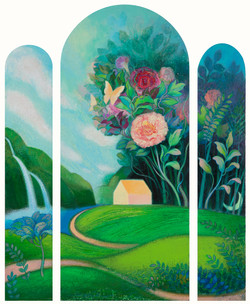 015, 문선영, 사랑이 꽃피는 집, 80 x 104 cm, 아크릴 및