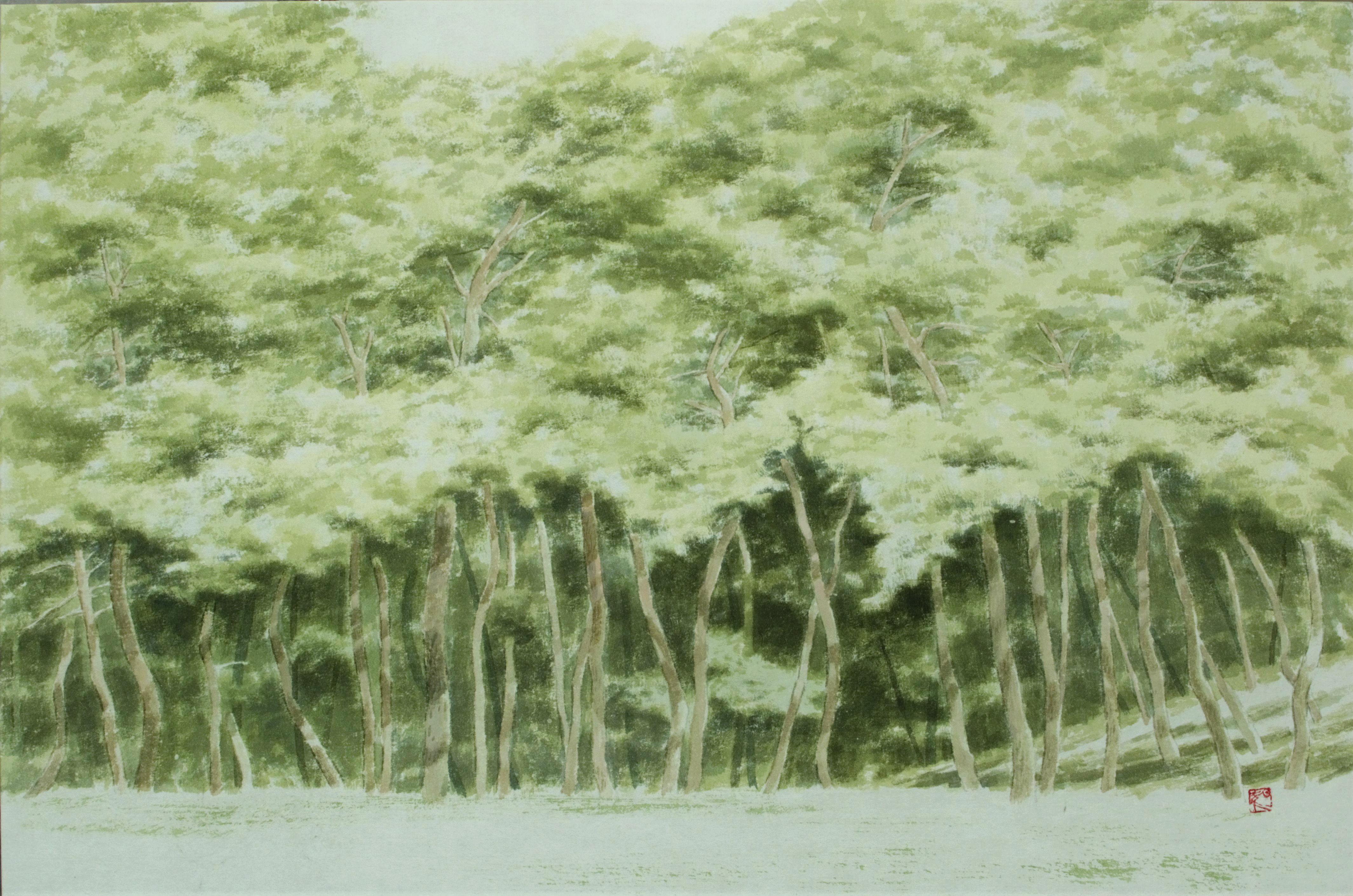 송승호1, 눈이 부시게 푸르른 날, 53 x 35 cm, 한지에 담채,