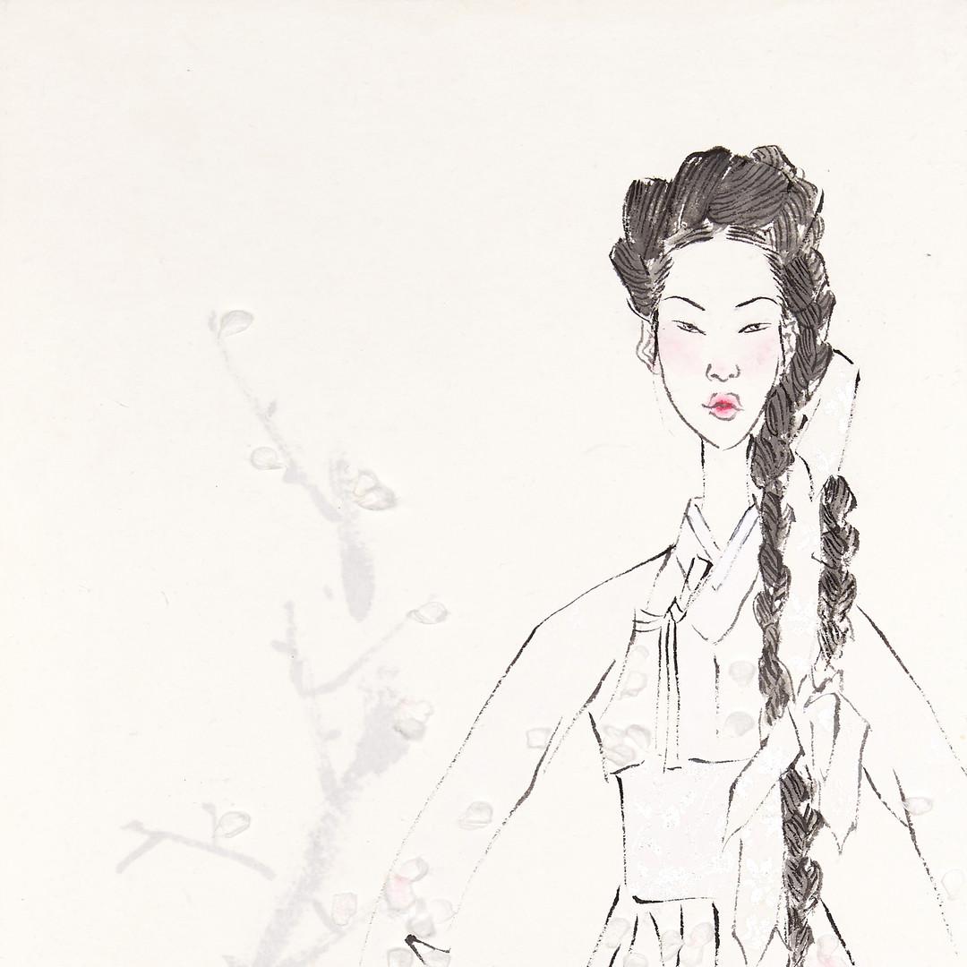 1. 베갯송사, 72.5x34.5cm, 한지위에 채색 & 콜라주, 201