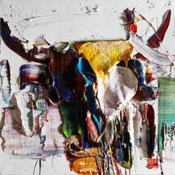 wild aura 2016 bull 009, 60x60cm, Oil on canvas, 2017