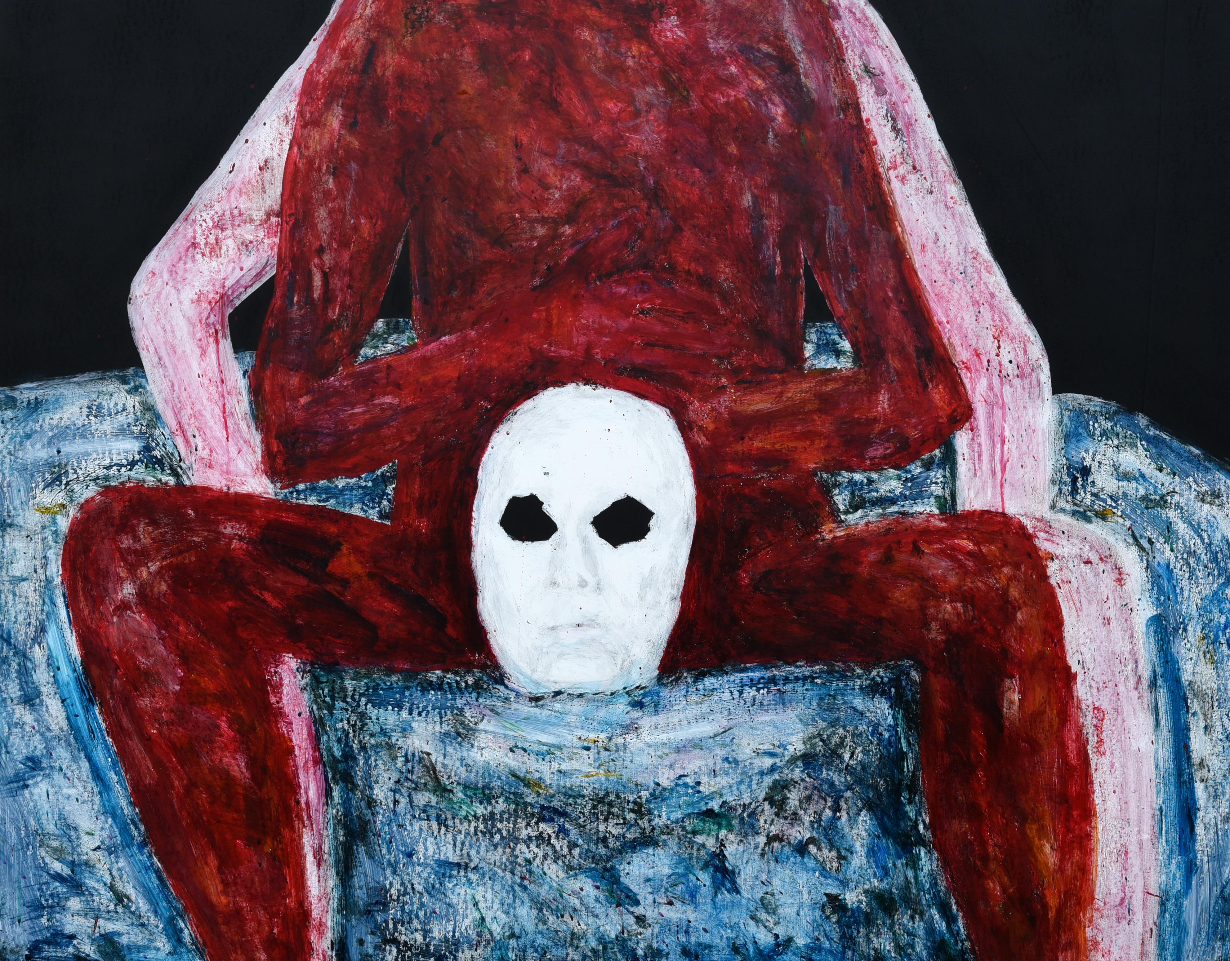 013, 정의철, 붉은 얼굴(가면), 116.8 x 91