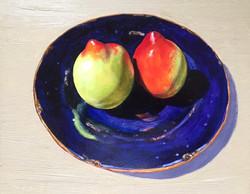 014, 두 개의 천도 복숭아, 30 x 24 cm, oil on can