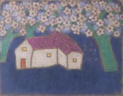 조수정, 004, 푸른 꽃 그늘 아래서, 71 x 55 cm, 삼베캔버스