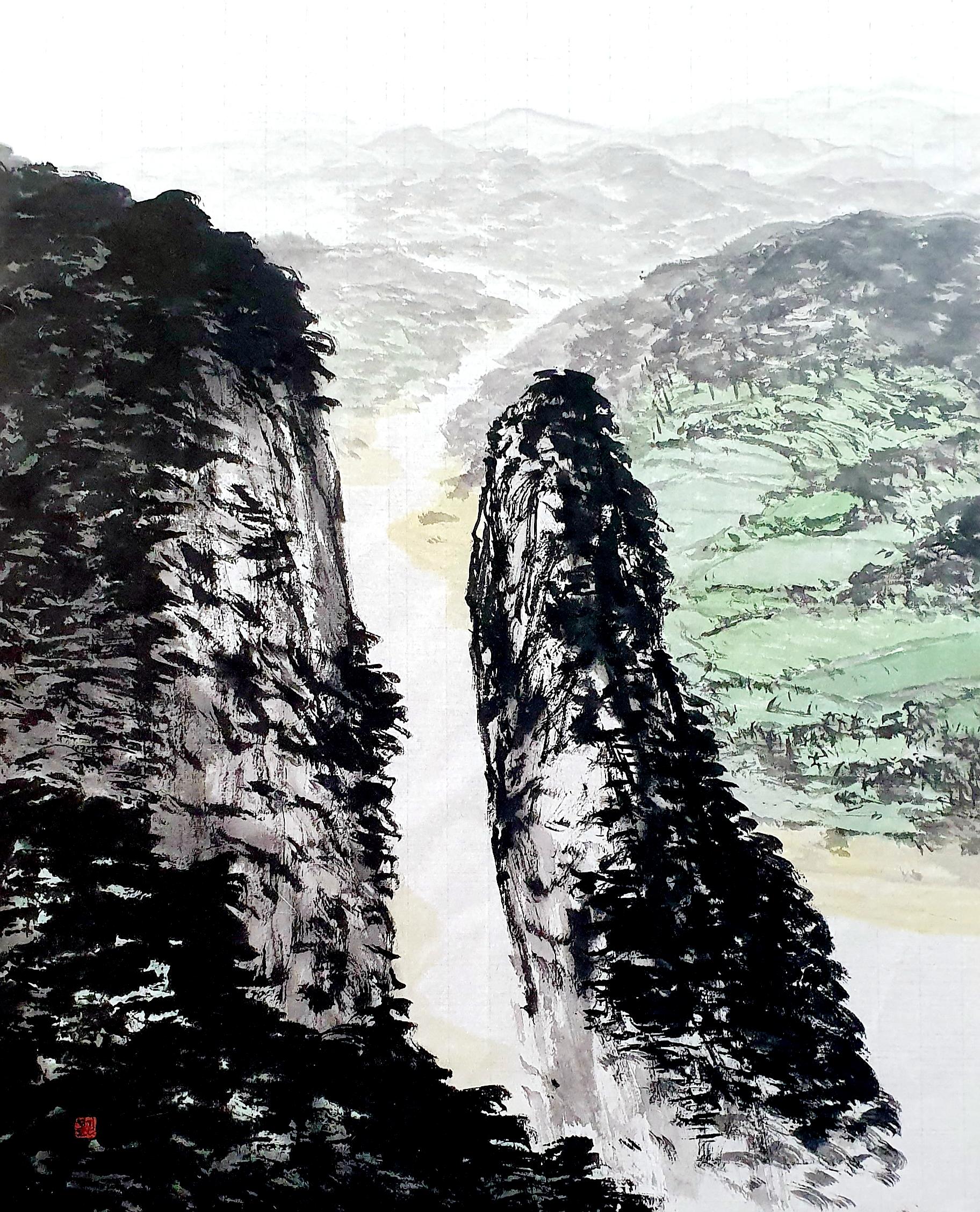 김성호, 선바위, 53 x 42 cm, 화선지에 수묵담채, 2020, 1