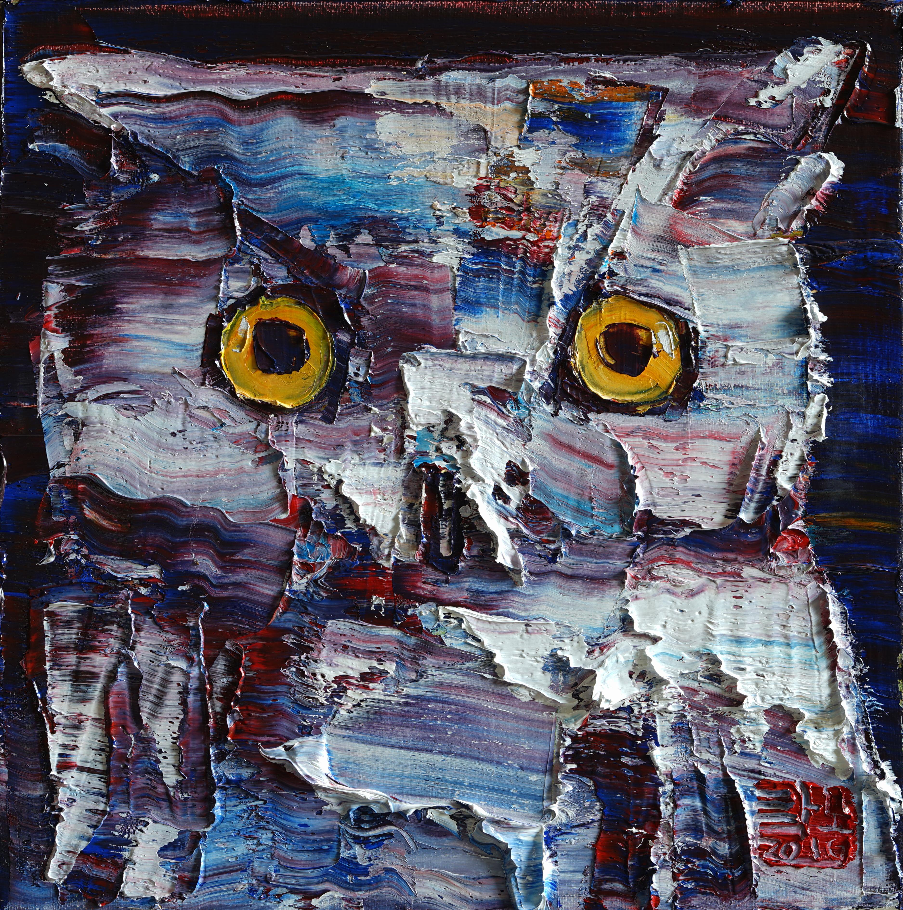 2016 wild aura  owl 011, 33x33cm, Oil on canvas, 2016