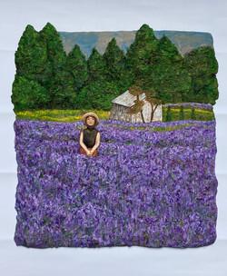 이지숙1, 찰나 - 꽃대마을, 34 x 32 x 2 cm, 테라코타 위에