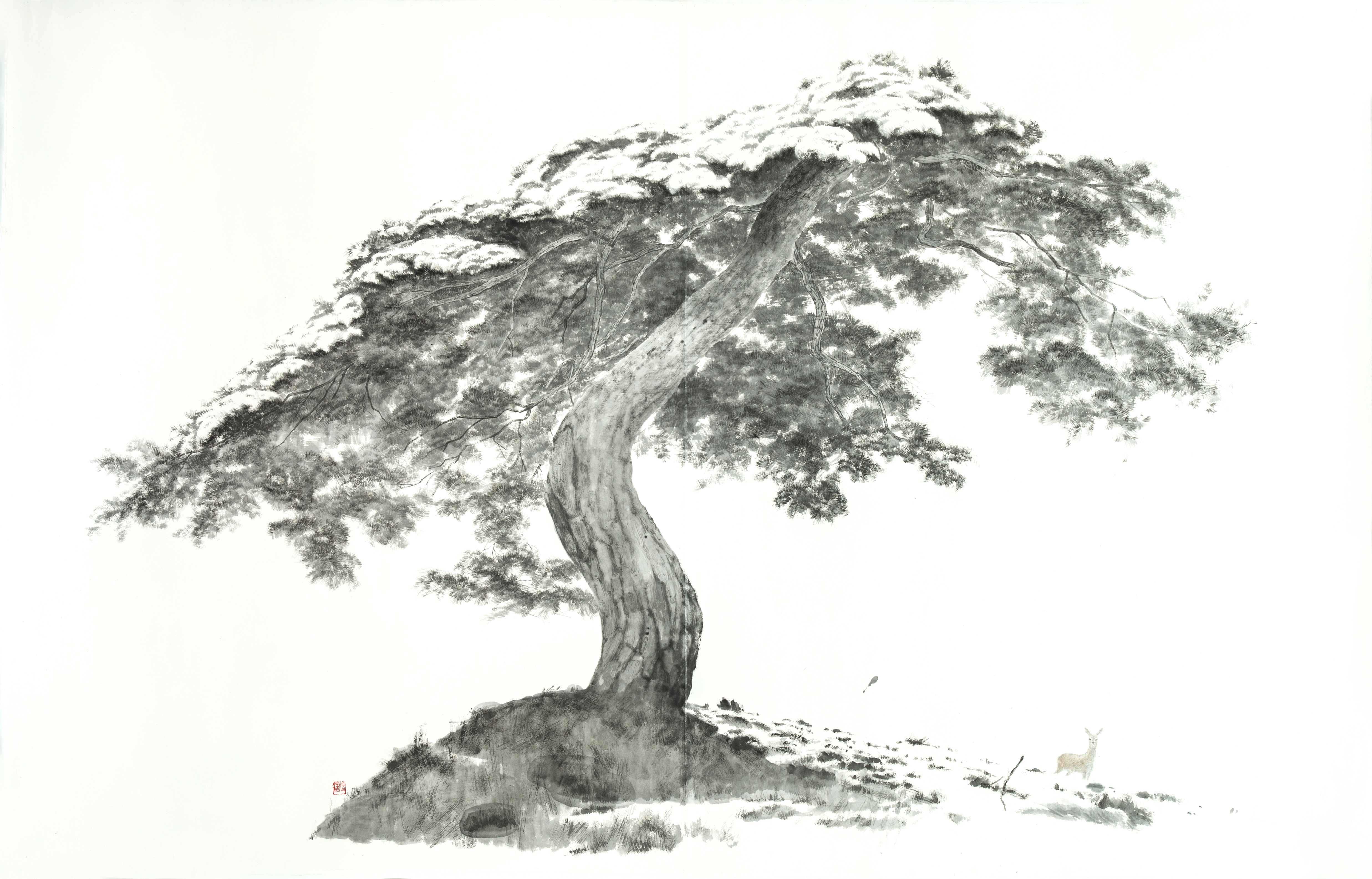 우산같은 나무, 170x267cm, 종이에 수묵, 2019---