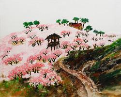 1. 복숭아밭, 91x72cm, 캔버스 위에 흙, 실, 청바지, 2014