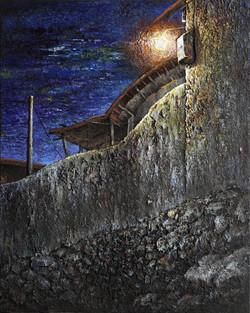 1-1. 처마밑, 73x91cm, mixed media oldwood on canvas, 2009