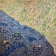009, 김재신, 동피랑이야기, 116.5 x 90.5 cm (50호), 나무판 위에 색 조각, 2018, 2000만원