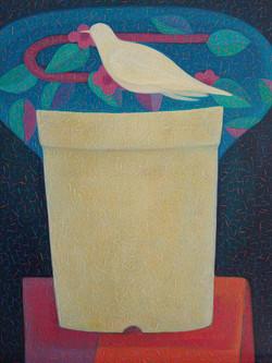 차명주1, 화분 위의 새,  37.9 × 45