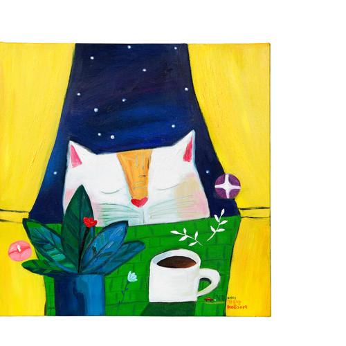 005, 창문 너머 가을 밤, 31.8 x 31.8 cm, oil on