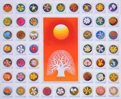 001 Sunrise - Faith , Hope. and. Love, 72.7x60.6cm, 목판위에 혼합재료, 2018