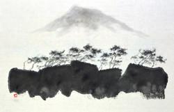 한라산이 보이는 풍경1, 53.3x35cm, 화선지에 수묵, 2016
