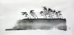 섬-바람이불어오는곳, 65x29cm, 화선지에 먹, 2016