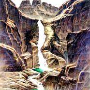 008, 자연-순환(토왕성폭포) 90x118cm canvas on acr