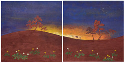 송승호4, 용눈이의 여명, 40 x 40 cm (2set), 장지에 흙
