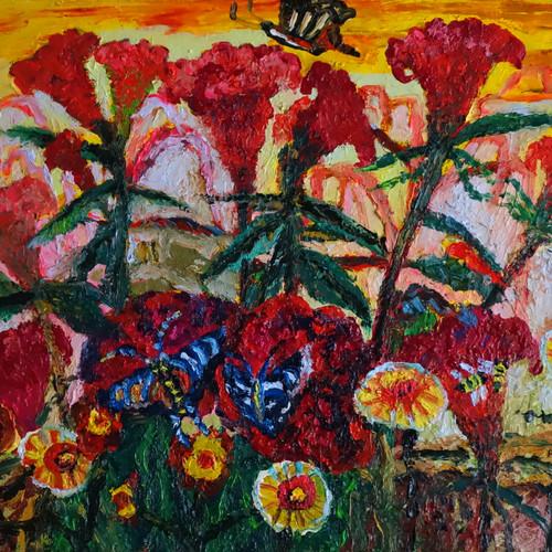 021, 민해정수, 언덕배기 감자밭, 53.0 x 45.5 cm, Oil