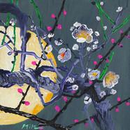 018 민해정수, 달빛매화, 31.8 x 31.8 cm, acrylic