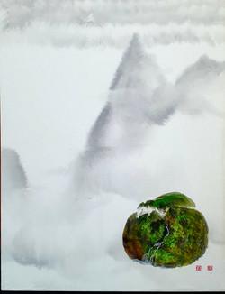 002, 김성호, 내가 사는 별2, 41 x 53 cm, 화선지에 수묵채