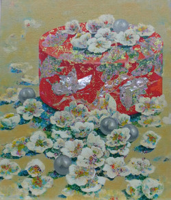 달콤한 그녀, 45.5x53cm, Acrylic on canvas, 자개 2016