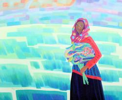 002, 차명주, 키버르 마을의 처녀, 72.7 x 90.9 cm, oil on canvas, 2021, 750만원