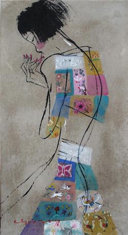 최경자, 베갯송사, 65x35cm, 한지위에혼합재료, 2017