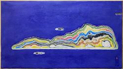 005 김재신, 섬, 32 x 41 cm(6호), 나무판 위 색조각, 2