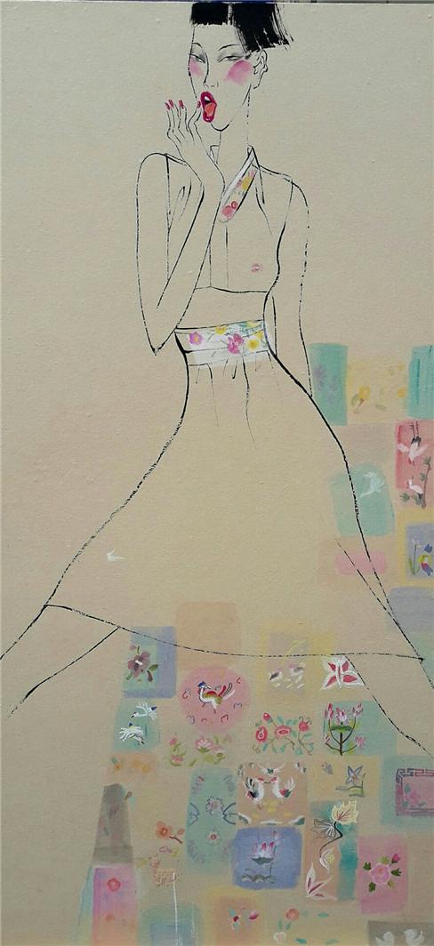 006, 최경자, 베갯송사, 122.5x58cm, 한지위에혼합재료, 20