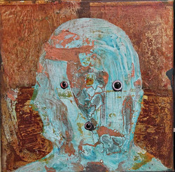 ugly duckling 9, 30cm x 30cm, Bronze and iron corrosion, oil, Plastic, epoxy on canvas,  2017