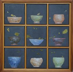 송승호, 차나 한잔 하시게7, 38 x 38 cm, 장지에 혼합재료, 2021, 90만원