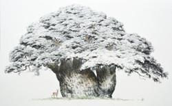 솔 고개 왕소나무, 122x195cm, 종이에 수묵담채, 2019---.