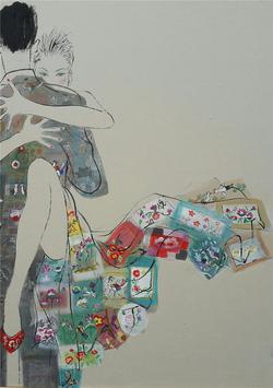 최경자, 베갯송사, 91x73cm, 한지위에혼합재료, 2017 (2)