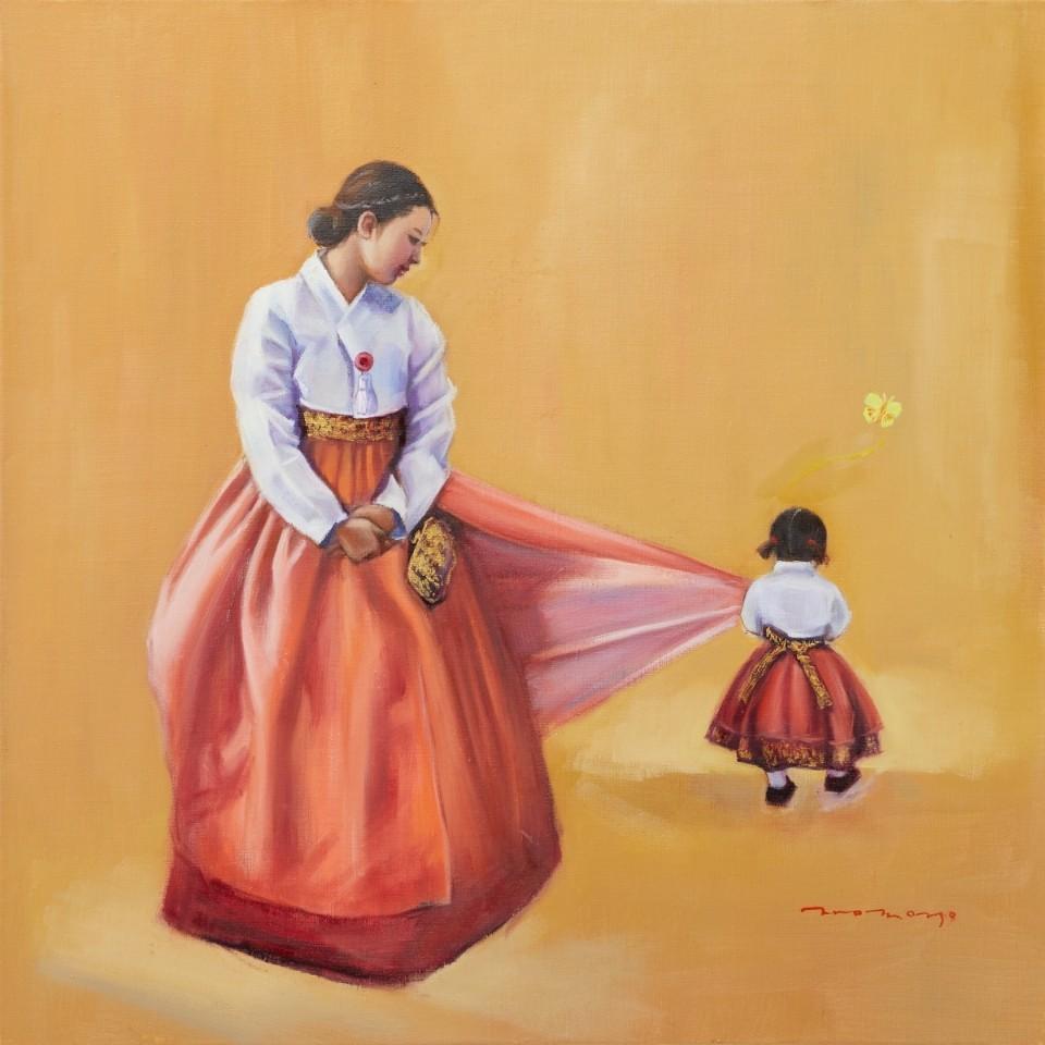 장윤영1, 엄마 집에 가요, 50 x 50 cm, Oil on canva