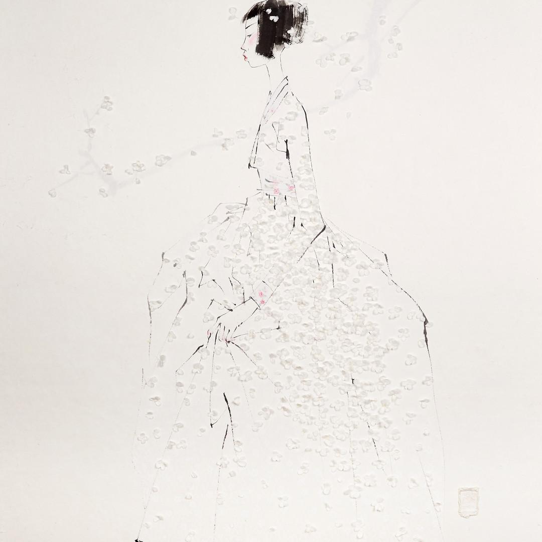 11. 베갯송사, 99x122cm, 한지위에 채색 & 콜라주, 2018.