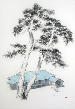 송승호2, 고향의 봄, 45 x 65cm, 화선지에 수묵담채, 2020,