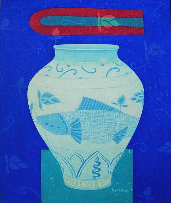 천년동안 (분청사기철화어문호).72.7×60.6.oil on canvas.2011
