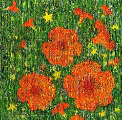 018, 변해정, 작은 능소화 IV, 20 x 20 cm, 캔버스에 아크