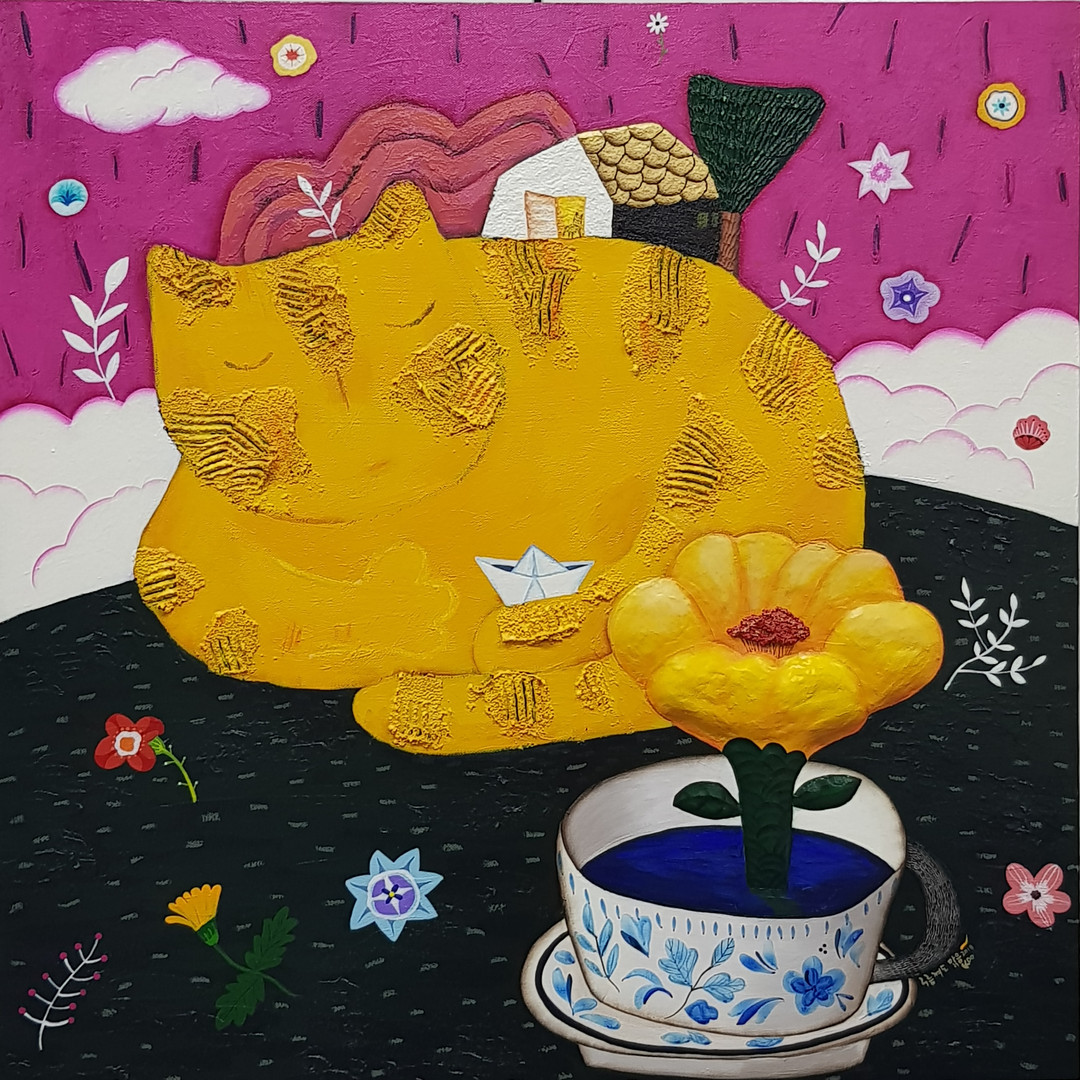 구름껴도 맑음, 60x60cm, Mixed media on canvas, 2018