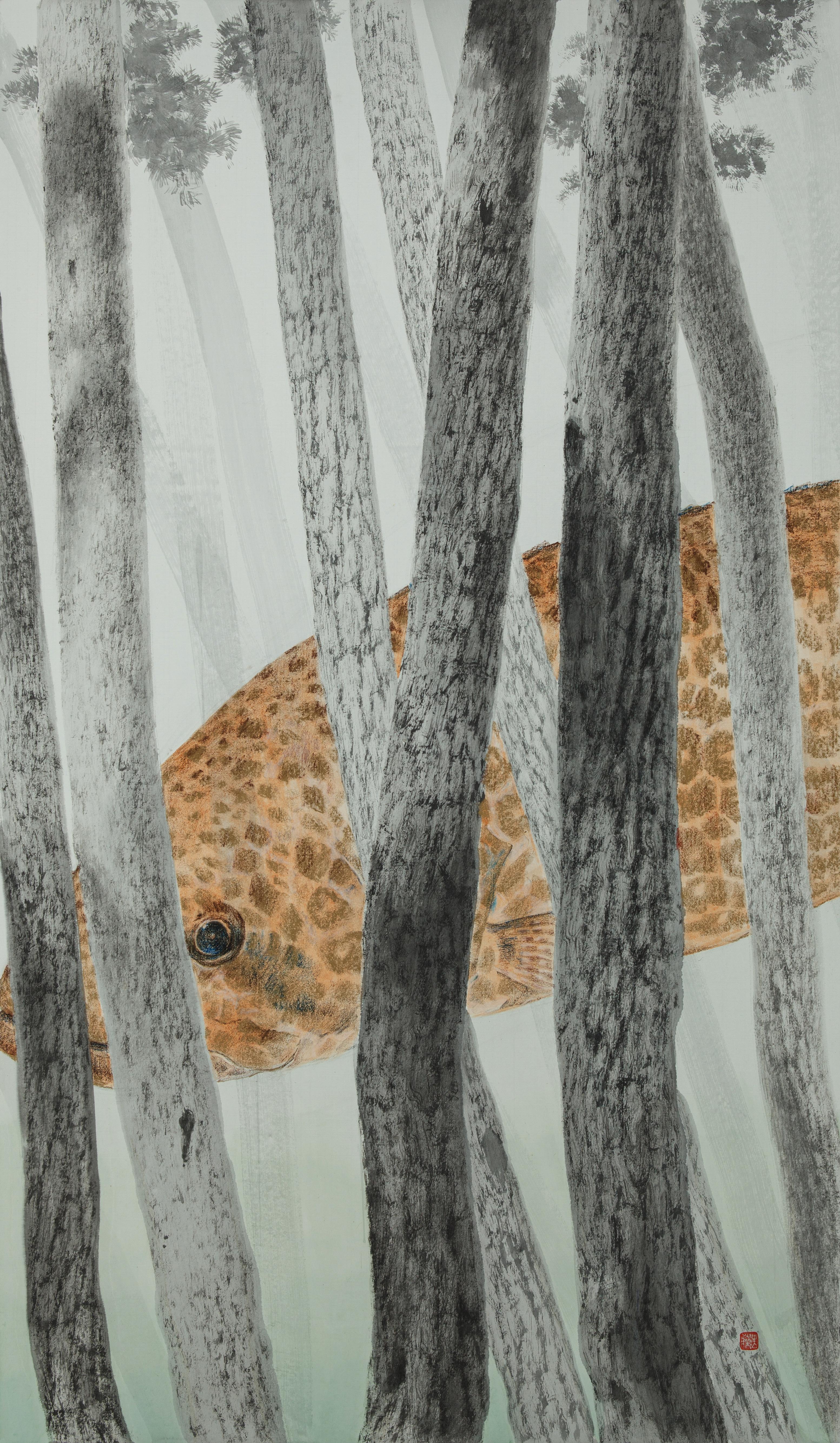 그 숲에는 쏘가리가 산다, 117 x 68 cm, 종이에 먹 토분 크레용