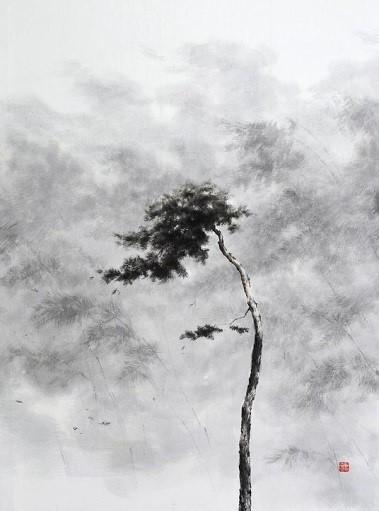 송승호, 바람이 분다,  72.7x60.6cm, 화선지에 수묵
