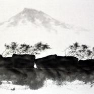 010, 한라산이 보이는 풍경2, 65.2x45.2cm, 화선지에 수묵,