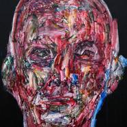 014, 정의철, 붉은얼굴, 91.0 x 116.8cm, 판넬 위에 아크