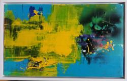 연상록002, 적벽강, 27cm x 45cm, 아크릴및 유화 ,혼합재료, 2017,