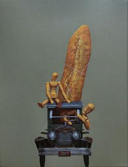 장필교001, 귀가, 40.9 x 27.3cm, Acrylic on canvas, 2017