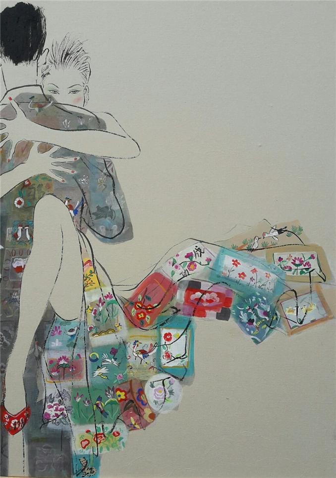 004, 최경자, 베갯송사, 91x73cm, 한지위에혼합재료, 2017