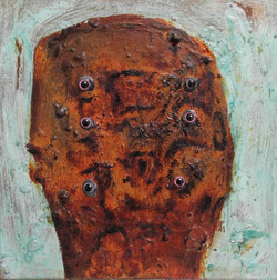 ugly duckling 5, 30cm x 30cm, Bronze and iron corrosion, oil, Plastic, epoxy on canvas,  2017